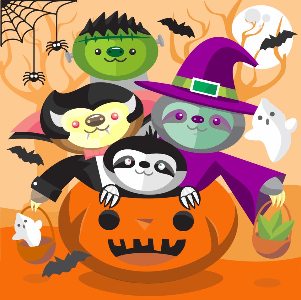 spooky halloween sloths